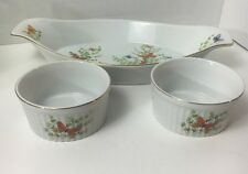 Butterfly Serving Dish And Set Of 2 Ramekins Ecstasy pattern by Shafford Co