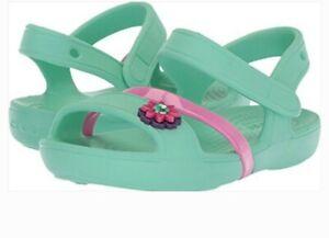 Crocs Bambine Lina Sandali Piatto 205043 mostra SZ 12C Nuovo di zecca/Rosa Tipo Chanel