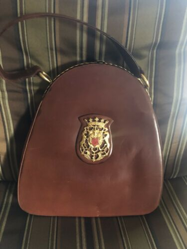 Vintage 50s Leather Handbag Rosenfeld Medallion Pu