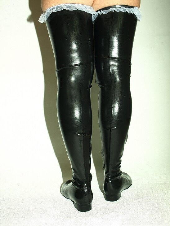 schwarz OR rot 100% LATEX RUBBER Stiefel Größe 6-16 6-16 6-16 HEEL-0' -- FROM POLAND 4a9359