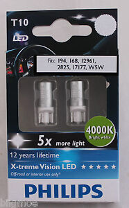Genuine Philips 4000k T10 W5w Led Bulbs For Parking Lights