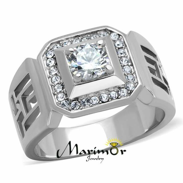 MEN'S 1.10 CT ROUND CUT SIMULATED DIAMOND SILVER STAINLESS STEEL RING SIZES 8-13