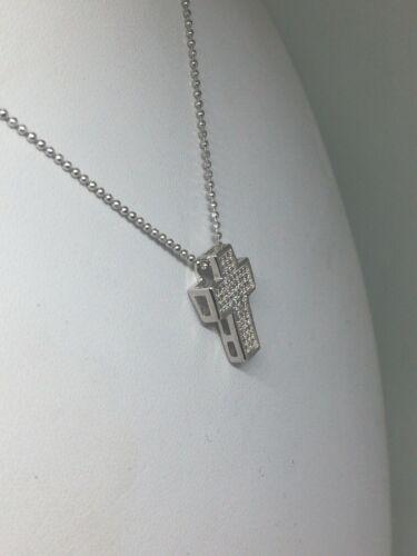 Ciondolo croce argento donna 3 FILI ZIRCONI BIANCHI RODIATA MM 12x17 SCATOLATA