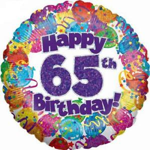 Image Is Loading Happy 65th Birthday 65 Today Party Holographic Foil