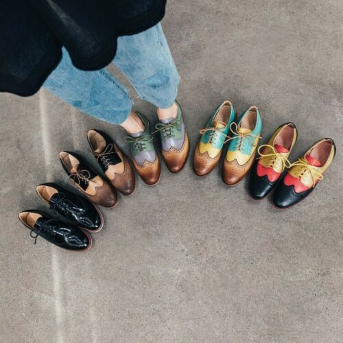 Womens Ladies Retro Fashion Leather Multicolour Lace Up Oxford Brogue Shoes AGSI