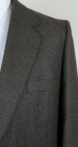 Mens 41 lana L scuro bottoni Unbranded marrone gessato pura a due in taglia TPdnwS