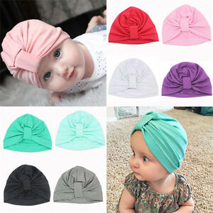 Baby Girls Toddler Indian Style Stretchy Solid Turban Hat Hair Head ... 5a1bba564bd