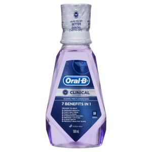 Oral-B Clinical Alcohol Free Flouride Rinse Clean Mint Mouthwash 500 ml