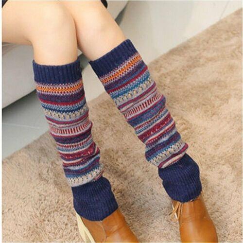 Women Striped Crochet Knit Knee Leg Warmers Leggings Slouch Boot Socks Winter