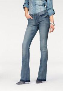 Arizona-Bootcut-Jeans-Gr-34-36-NEU-Damen-Flare-Huefthose-Blue-Used-Stretch-Denim
