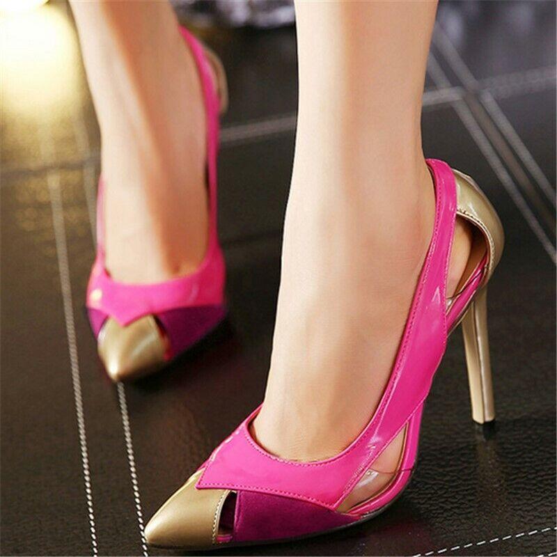 Femmes bout pointu et talon aiguille talons multiCouleures à Enfiler Escarpins Party Chaussures
