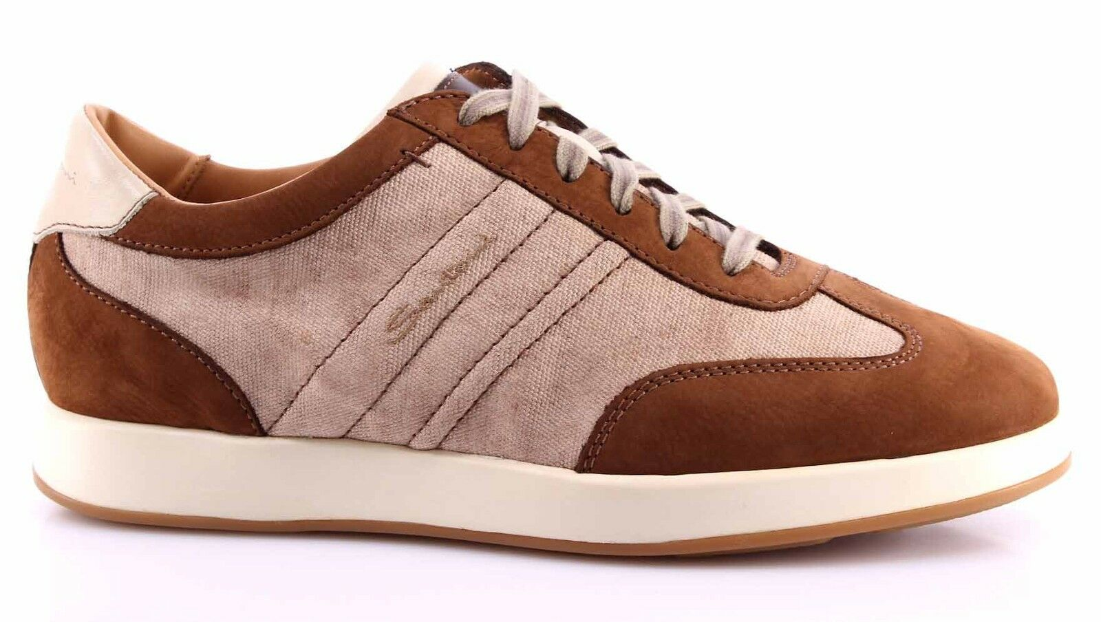 Men's Shoes Sneakers SANTONI Beige Brown Top Quality Luxury Made In Italy New