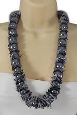 Women Grey Big Imitation Pearl Beads Long Fashion Tie Fabric Necklace Pendant