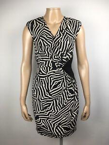 Whistles Dress Size 10 Uk Ruched Zebra Animal Pattern Silk Pencil Dress Ebay