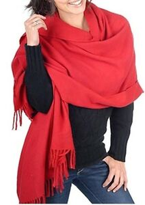 Cashmere velluto a 4 rosso Stola 100 Balldiri 90 Cm X fili Sciarpa in 200 E4qTzCxzw