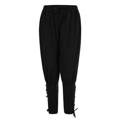 Vintage Men/'s Ankle Lace-up Pants Trousers Fashion Medieval Pants BB