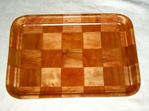 Vintage-Mid-Century-Modern-Retro-60-039-s-Tiki-Bar-Checkered-Parquet-Serving-Tray