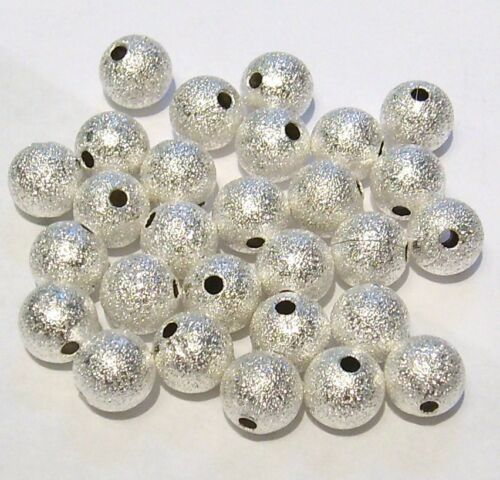 Top Quality BRASS 40 x 8mm Stardust Silver Plated Glitter Beads Sparkle