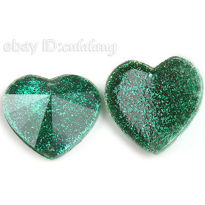 40pcs 24210 Wholesale Shiny Hearts Sew-on Green Flatback Beads 25mm