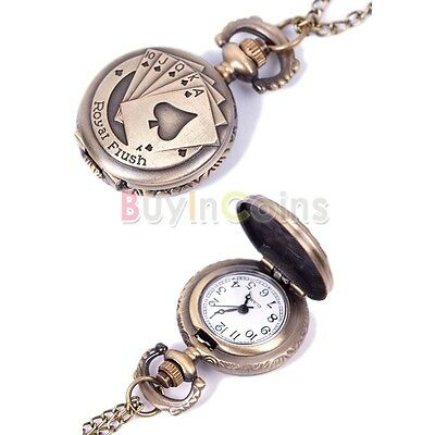 Boy Girl Vintage Retro Quartz Chain Pendant Pocket Watch Necklace HFAU