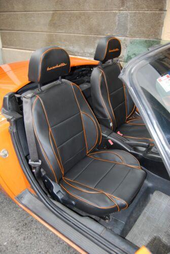 bordure orange Skai noir Housses de siège Fiat Barchetta
