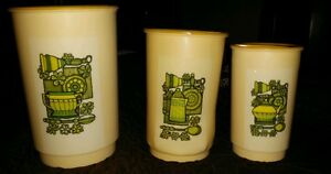 RETRO-PLASTIC-MELAMINE-CANISTERS-set-3-FLOWER-AND-TEARS-DESIGN-off-white-green