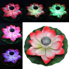 Romantic Solar Power LED Floating Night Light Lotus Flower Garden Pool Decor