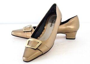 7 bajo Antique Leather Zapatos Accent Ros Buckle Gold Hommerson de m tacón TRzvqv