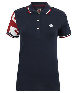 LADIES TROJAN SLIM FIT POLO SHIRT WITH UNION JACK SLEEVE TR 8223 NAVY BLUE