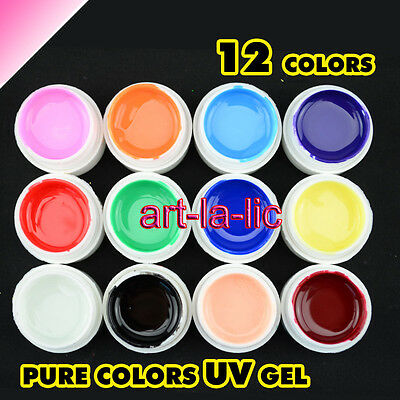 12 Pots Colors UV Gel Nail Tips Pure Fine Glitter Pearl Shiny Cover Manicure Set