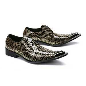Chic-Men-039-s-metal-decoration-snakeskin-Fashion-Lace-up-New-Business-Formal-Shoes