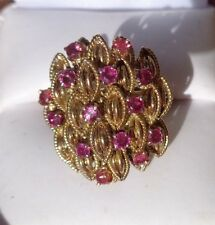fine heavy 14K  yellow gold ruby   ring  size 4