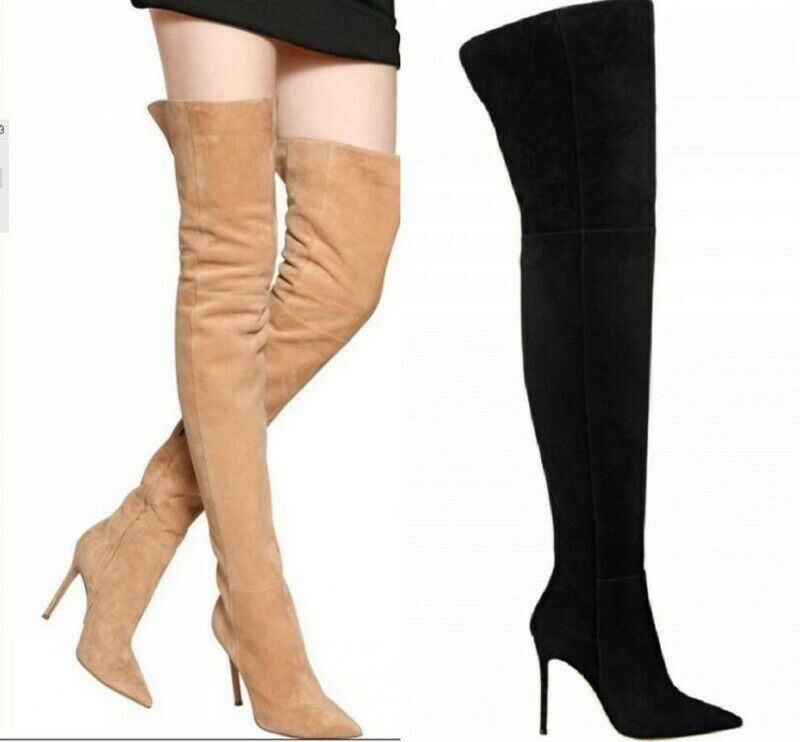 Sexy Faux Suede Pointed Toe Womens Over the Knee Boots Side zip Stilettos shoes