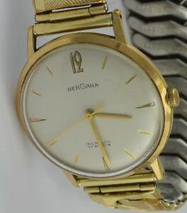 BERGANA-Incabloc-17-Rubis-Herrenuhr-Handaufzug-Edelstahl-vergoldet