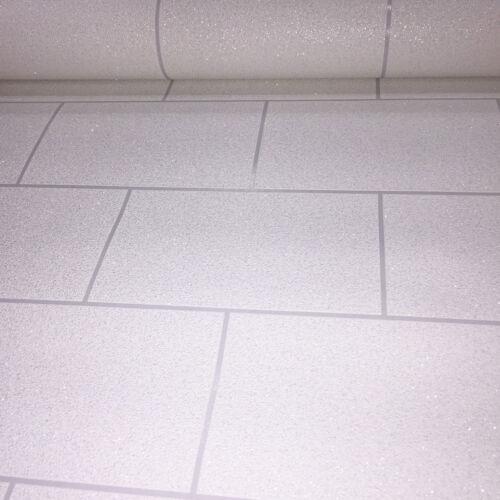 Bathroom Kitchen Wallpaper Embossed Vinyl Glitter Brick Slate Tile Silver White