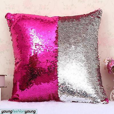 Kissenbezug Doppel Farbe Wende Glitzer Pailletten Sofa Kissenhülle Wohnnung Deko