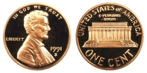 1991 S LINCOLN CENT GEM DCAM PROOF from PROOF Set