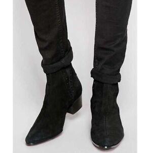 Men Black Suede Chelsea Boots, Ankle