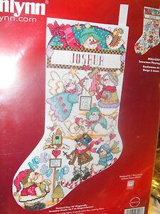 Janlynn-Counted-Cross-Stitch-034-Snowmwn-Playing-034-Christmas-Stocking-Customizable