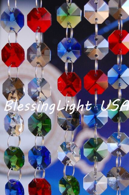 Lead Glass Crystal Prisms Chains Red and Clear Octagon Chandelier