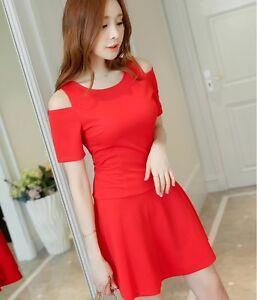 ddf62902dc 2018 Sexy Korean Style Off Shoulder Short Sleeve Slim Waist Bodycon