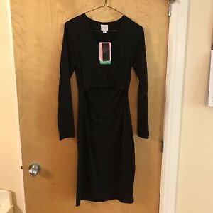 Boob-Nursing-Breastfeeding-Black-Dress-Size-Small-Recycled-Cotton