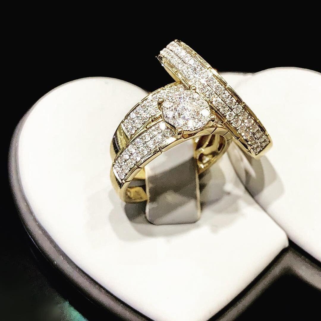 Mens And Women Trio Wedding Round Diamond Bridal Ring Set 10K Yellow gold Finish