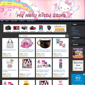HELLO KITTY STORE - Affiliate Online Business Website Free .Com Domain + Hosting