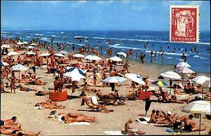 Mamaia Rumänien AK Postcard 1976 frankiert vorne mit R.P. Romina Briefmarke