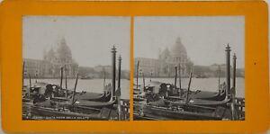 Venezia Santa Maria Della Salute Italia Foto Stereo Vintage Analogica