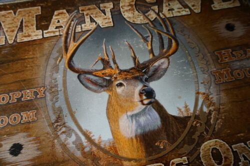 NEW MAN CAVE HUNTERS ONLY Deer Buck Hunting Cabin Home Decor Bullet Hole Sign