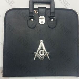 Details about HAND EMBROIDED CUSTOM MASONIC BLACK, M M  APRON CASE  SILVER-HSE