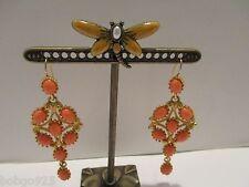 KJL Dangle Earrings Faux Coral Oval Cabochon Kenneth Jay Lane Goldtone  Pierced