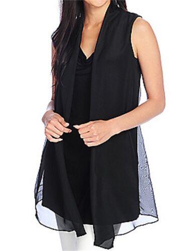 Kate /& Mallory Women Knit /& Woven Sleeveless Draped Neck Chiffon Trim Tunic Top